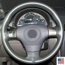 Charcoal Genuine Leather Steering Wheel Cover AXX For GMC Honda & Other Makes