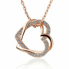Fashion Interlinked Double Heart Crystal Diamante Gold Plated Necklace-UK Seller
