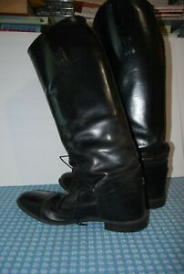 Men's Black Leather Equestrian Riding Boots