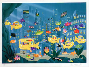 Stewart Moskowitz Limited Edition Silkscreen Fine Art TAXI FISH Stu Nursery Art