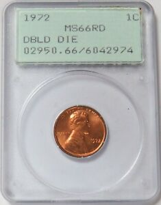 1972 LINCOLN MEMORIAL CENT 1C GENERATION 1 GREEN LABEL PCGS MINT STATE 66 RD