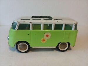 "VINTAGE BUDDY L VW VAN LIME GREEN FLOWER POWER STEEL TOY 10"" LONG"