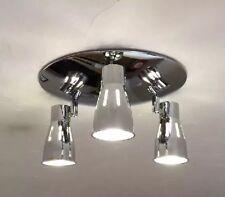 Lote De Trabajo 2 x Cepillo Moderno Cromo Redondo 3 vías de Cocina Lámpara de techo Adj GU10