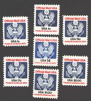 US. O127,O128,O129,O129A,O130,O132,O133. 1c - $5.00. Official Stamp Set of 7.MNH