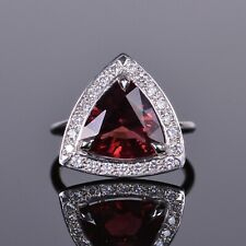 Right Hand Ring in White Gold Rubellite and Diamond Halo Cocktail or