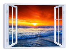 Quadro Stampa su Tela con Telaio in Legno Arredamento Finestra tramonto mare
