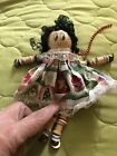 Vintage  Small Doll With Wood Head & Body And Buttons For Arms & Legs Christmas