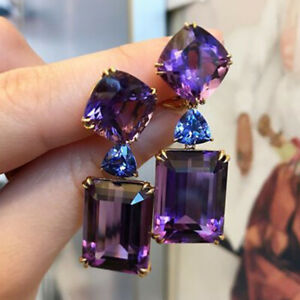 Gorgeous 925 Silver Drop Earrings for Women Purple Amethyst Jewelry A Pair/set