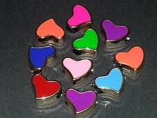 Wholesale 4pc Multi Colored Heart Charm Rose Gold Pendant Loose Bead Pandora NEW