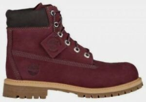 """Timberland Junior's 6"""" Premium Waterproof Boots NEW AUTHENTIC DK Red A1BAQ"""