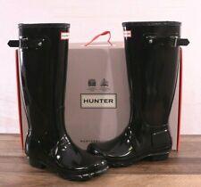 Hunter Women's Black Gloss Rubber Rain Boots Original Tall 7 MED WFT1000RGL