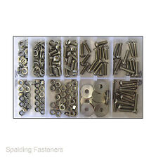 Surtido de métrica de M6 máquina de botones de Zócalo de Acero Inoxidable Tornillos, Tuercas & Arandelas