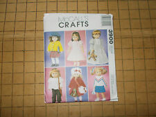 "McCALLS #3900 CRAFTS DOLL CLOTHES FOR 18"" DOLLS DRESS HAT PANT SEWING PATTERNS"