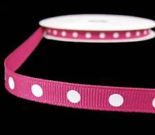 "5 Yds Pink White Dotted Polka Dot Grosgrain Ribbon 3/8""W"