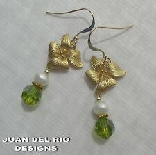 Hibiskus Blüte* Zuchtperlen Quarz Kristall Ohrringe 585 Gold 14K GF peridot-grün