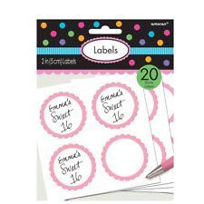 Pink 20pk Candy LOLLIE Buffet Sticker Labels