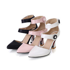 Ladies Shoes Synthetic Leather High Block Heels Ankle Strap Sandals US Size S289