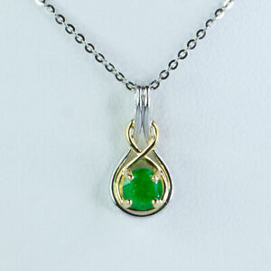 Natural Colombian Emerald Pendant Necklace in 18K Two Tone Gold