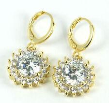 Crystal drop dangle earrings Women's Gold plated Clear