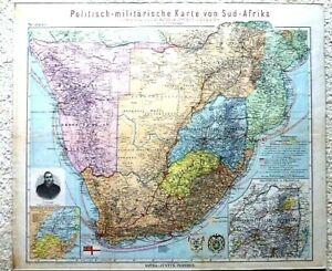 Politish-militarische Karte von Süd-Afrika South Africa military  map 1899