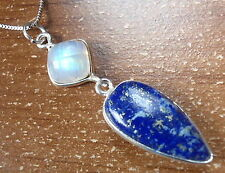 Moonstone & Lapis Pendant 925 Sterling Silver Square Triangle with Soft Corners