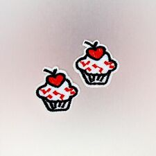 Cupcake Patches (2pc) — Iron On Badge Embroidered Motif — Cute Fun Cherry