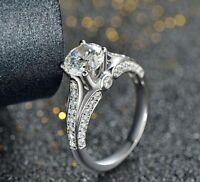 Certified 14K White Gold Diamond Forever One Moissanite Solitaire Art Deco Ring