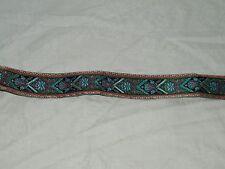 3 Yards Metallic Ribbon Blue Black Craftsman Style Art Deco 1 1/2 Inch 18275