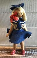 Vintage Polish Girl Doll Wooden Peg Wood Folk Art Poland Painted Blonde Sailor