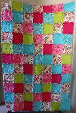 """Butterfly & Flower Flannel Rag Quilt 41""""x63"""" Pink Light Blue Lime * Teen Girl *"""