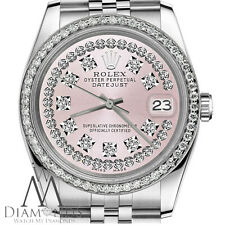 Women's Rolex 26mm Datejust Pink String Diamond Dial with Vintage Style Watch