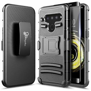For LG G8 ThinQ Case Armor Holster Clip Kickstand Phone Cover + Tempered Glass