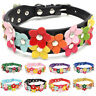 Pet Puppy Dog Cat Collar Adjustable Necklace PU Leather Flowers Neck Strap