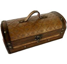 Wooden Chest Trunk Storage Box Leather ? Hinged Latch Handle Retro Studs Stash