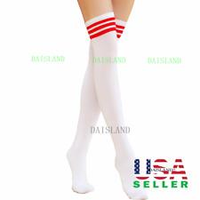 Men Women Sport Athletic Soccer Long Stripe Socks Over Knee Thigh High Stocking