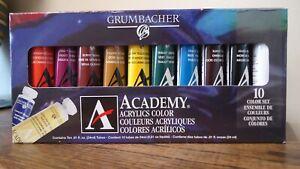 NEW!! Grumbacher 10ct ACADEMY Acrylics Color Tubes - C1030 (1326)