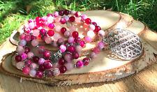 Mala Kette 108 Perlen Lotus Lebensblume Buddha Jaspis Rosenquarz Jade Achat