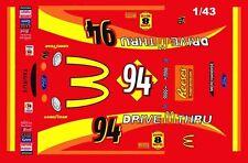 #94 Bill Elliott Mcdonald's Drive Thru 1999 Ford 1/43rd Scale Slot Car Decals