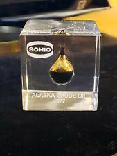 SOHIO Memorabilia Alaska Pipeline 1977 Crude Oil Lucite Paper Weight Real Oil