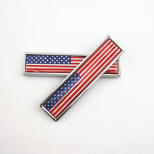 2 x Metal America Flag Style Sticker Badge For Car Fenders Tank Cover Body Side