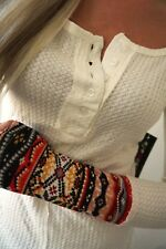 Eye Candy Henley Thermal Knit Waffle Thermal Off White Aztec Cuff Small NWT