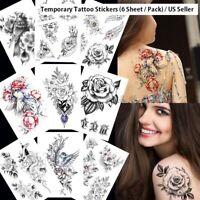 6pcs Temporary Tattoo Feminine Stickers Waterproof Body Art Angle Wings & Crown