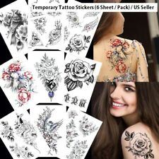 6pcs Temporary Tattoo Feminine Stickers Waterproof Body Art Angle Wings & Crown