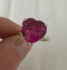Stone Heart Ring 925. Solid Silver Large Pink