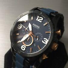 Mens Fossil Designer Watch Chronograph JR1494 Black Blue Steel Rose Gold Genuine