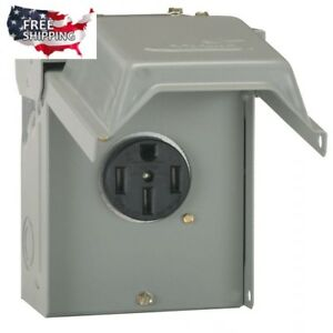 Temporary RV Power Outlet Box 50 Amp 2 Gang Heavy Gauge 240V Lockable Rainproof