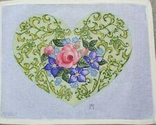 "handpainted needlepoint canvas 10ct flowered heart  19x15"""