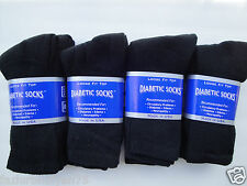 12 pair of mens black special quality Diabetic crew socks sz 10-13  MADE IN USA