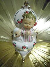 VTG Christmas Baby Shower Praying Little Girl Chair Lamb Sheep Easter Figurine