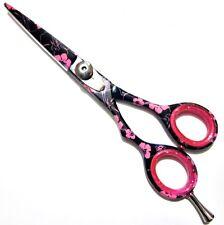 "Left Hand 6"" Professional Hairdressing Hair Scissors Black Pink Flowers Shears"